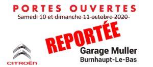 Read more about the article Portes ouvertes 10 et 11 octobre 2020 REPORTÉES
